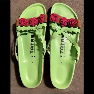 Birkenstock Tatami Sandals, Green w/ Flowers 11/41